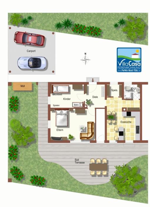 Grundriss, Ferienwohnung Villa Casa, großzügige Wohnung